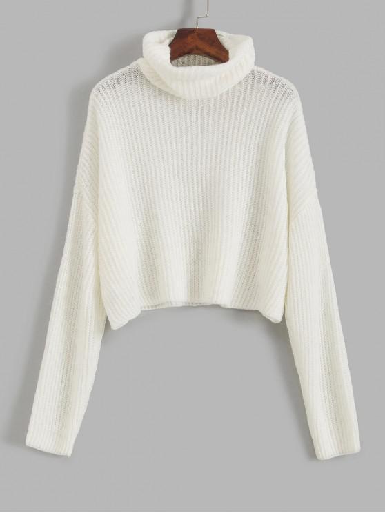 womens ZAFUL Turtleneck Drop Shoulder Crop Sweater - MILK WHITE XL