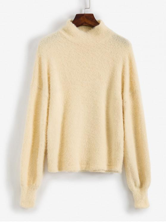 women's Mock Neck Fuzzy Sweater - BEIGE L