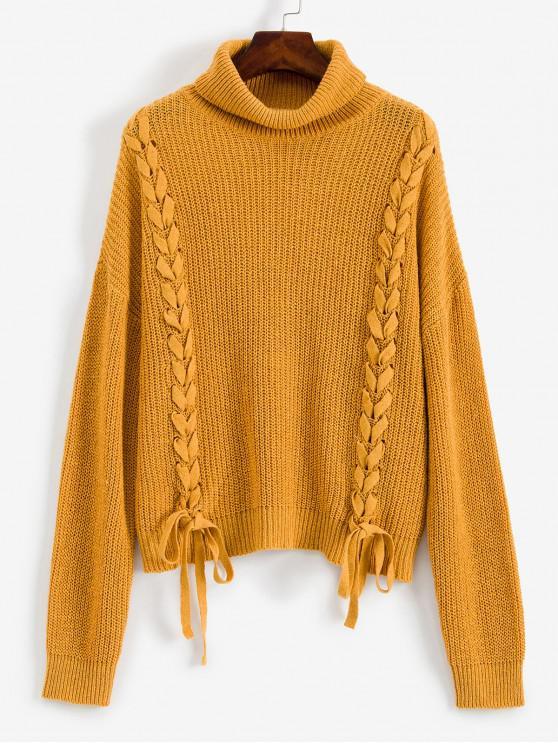ladies ZAFUL Lace Up Turtleneck Drop Shoulder Sweater - BROWN SUGAR L