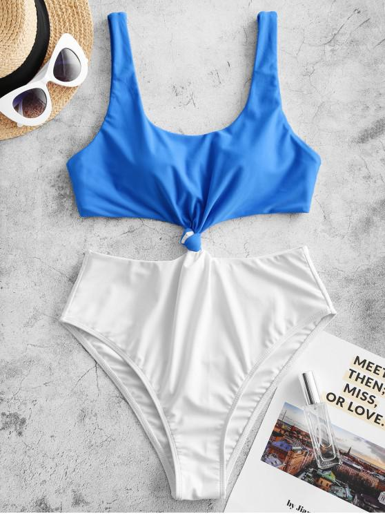 unique ZAFUL Colorblock Knotted Monokini Swimsuit - DODGER BLUE S