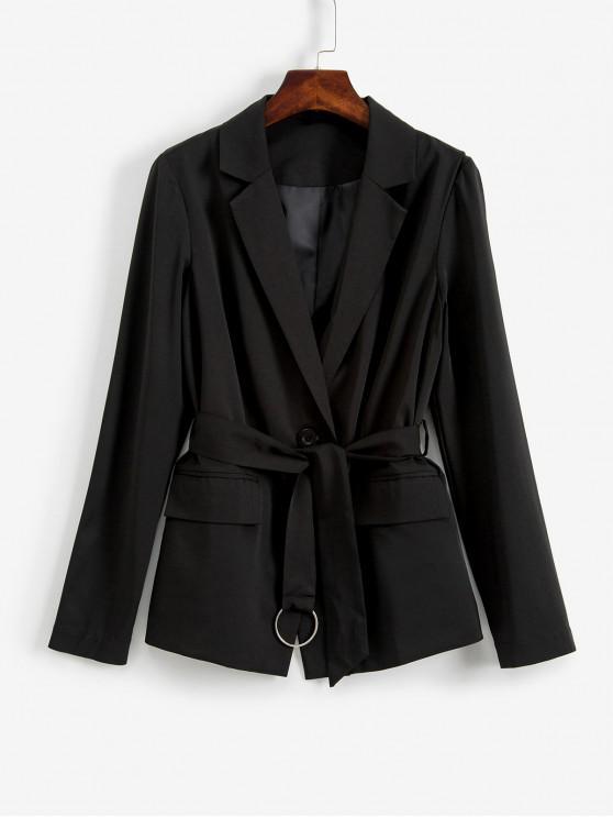 affordable ZAFUL Notch Lapel Belted Open Front Blazer - BLACK S