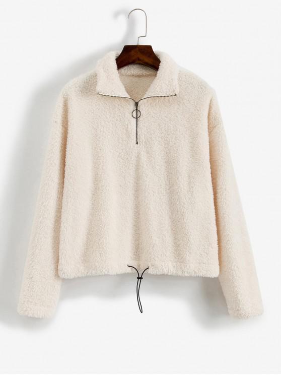 hot ZAFUL O-ring Zip Drop Shoulder Fuzzy Sweatshirt - WARM WHITE L