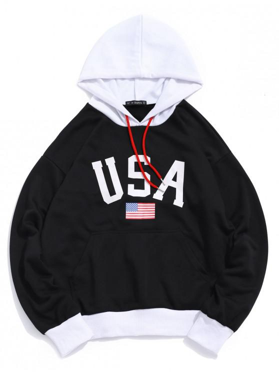 chic USA American Flag Color-blocking Splicing Pullover Hoodie - BLACK 2XL