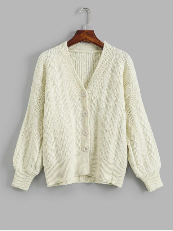 fancy Cable Knit Drop Shoulder Single Breasted Cardigan - WHITE ONE SIZE