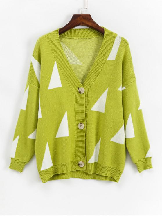 new Geometric Drop Shoulder Single Breasted Knit Cardigan - YELLOW GREEN ONE SIZE