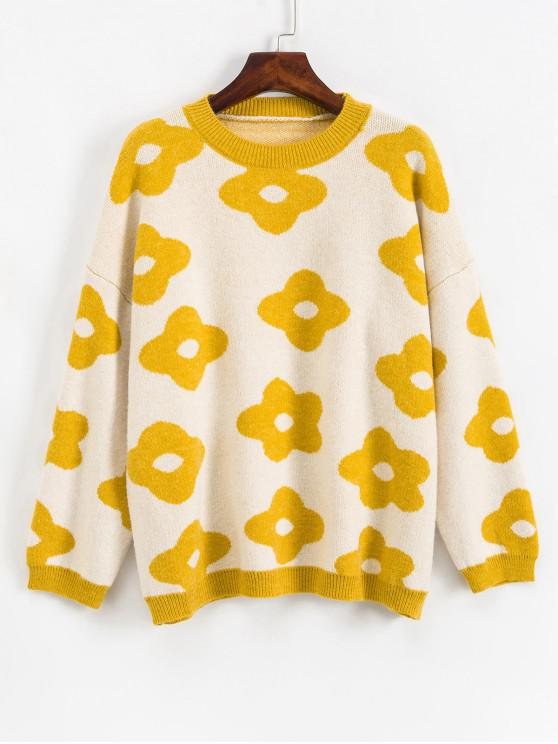 chic Crew Neck Drop Shoulder Floral Graphic Sweater - YELLOW ONE SIZE