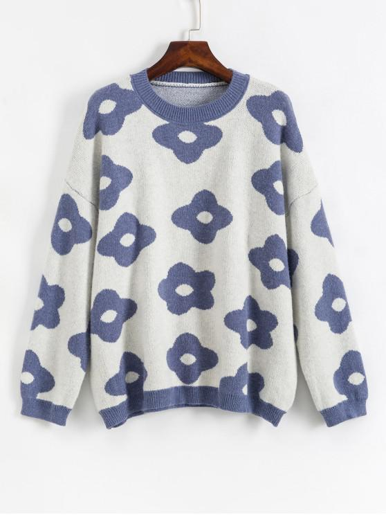 buy Crew Neck Drop Shoulder Floral Graphic Sweater - BLUE ONE SIZE