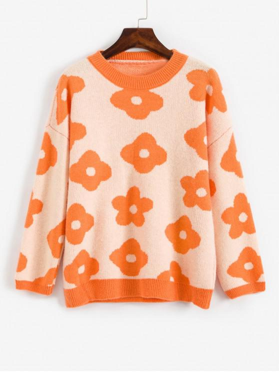 womens Crew Neck Drop Shoulder Floral Graphic Sweater - ORANGE ONE SIZE