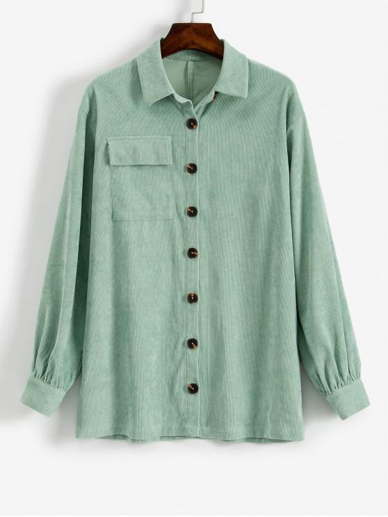 affordable ZAFUL Button Up Longline Corduroy Shirt - PALE BLUE LILY S