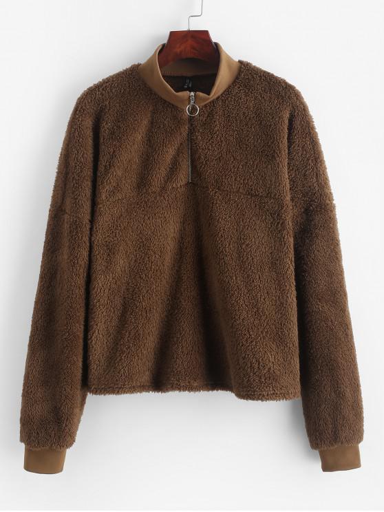 shops ZAFUL Drop Shoulder Quarter Zip Fluffy Teddy Sweatshirt - TIGER ORANGE S