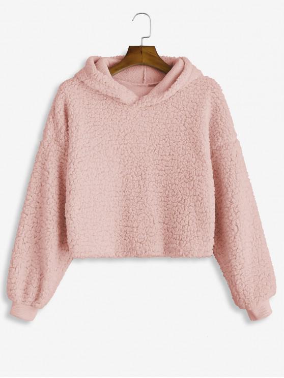fashion Drop Shoulder Fluffy Boxy Hoodie - PINK M