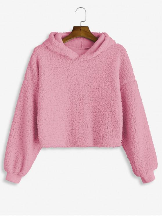lady Drop Shoulder Fluffy Boxy Hoodie - PALE VIOLET RED M