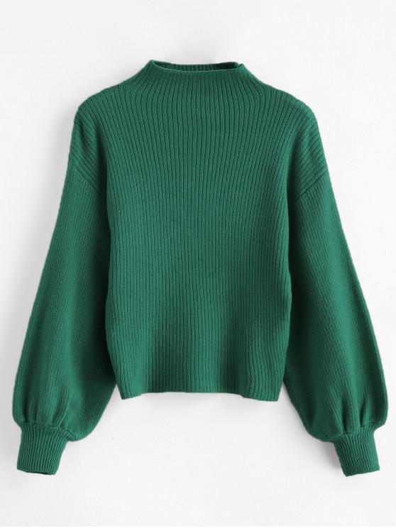 latest Pullover Blouson Sleeve Ribbed Funnel Sweater - GREEN ONE SIZE
