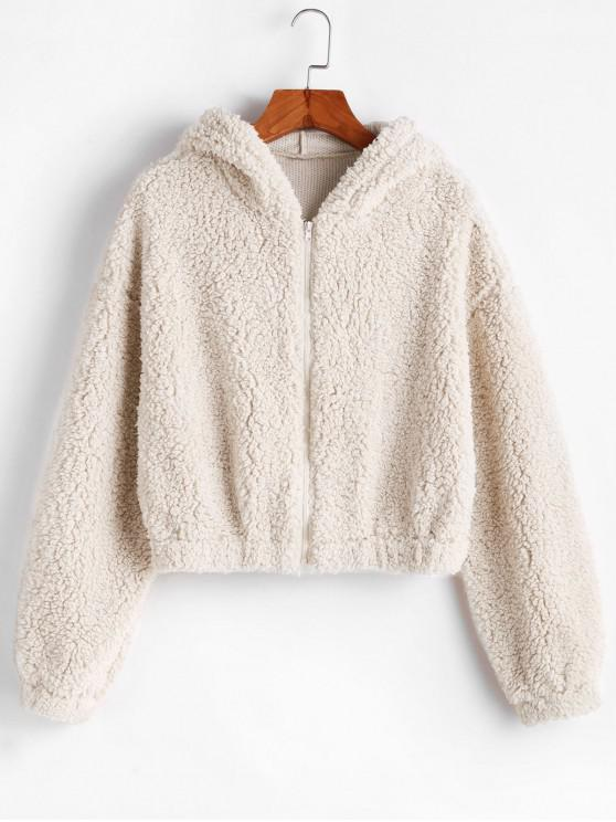 shop ZAFUL Hooded Zip Up Fluffy Teddy Jacket - MILK WHITE XL