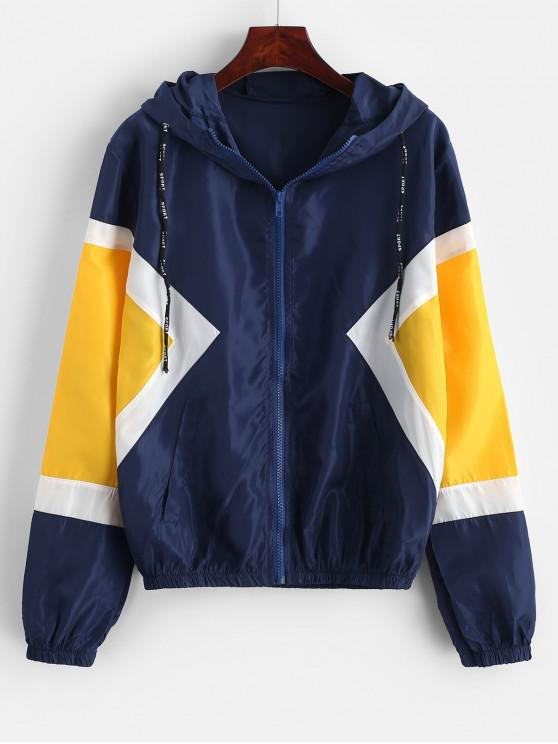 outfit Color-blocking Hooded Zip Windbreaker Pocket Jacket - BLUE XL