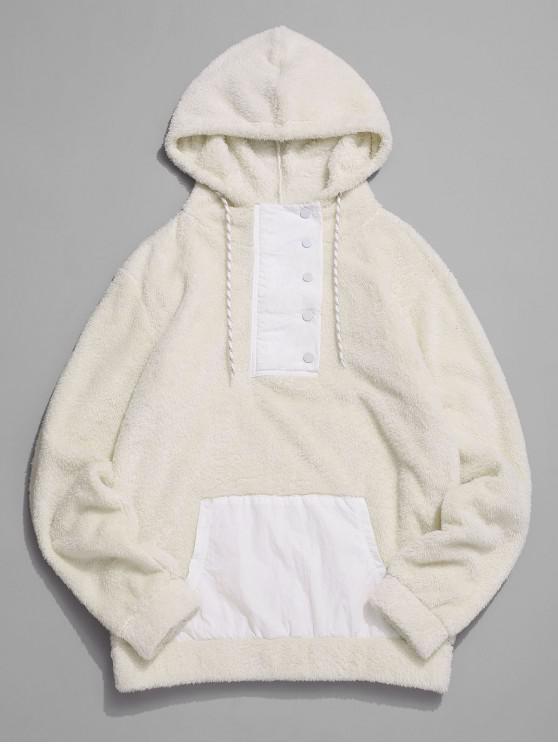 women Color Spliced Button Zipper Fluffy Hoodie - BEIGE L