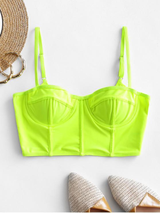 outfit ZAFUL Neon Underwire Bustier Bikini Top - GREEN YELLOW M