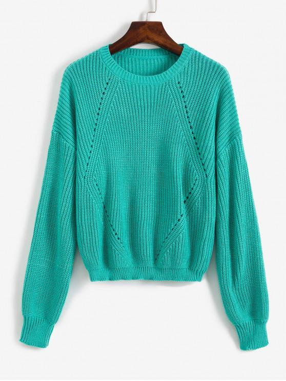 affordable Drop Shoulder Openwork Sweater - MACAW BLUE GREEN L