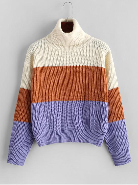 womens ZAFUL Turtleneck Colorblock Pullover Sweater - MULTI ONE SIZE