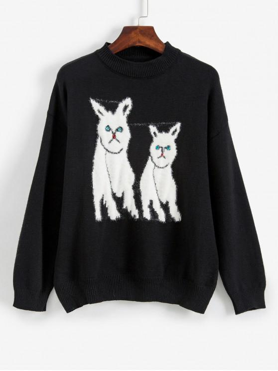 Suéter hombro gráfico animal del Rhinestone gota difusa - Negro Talla única