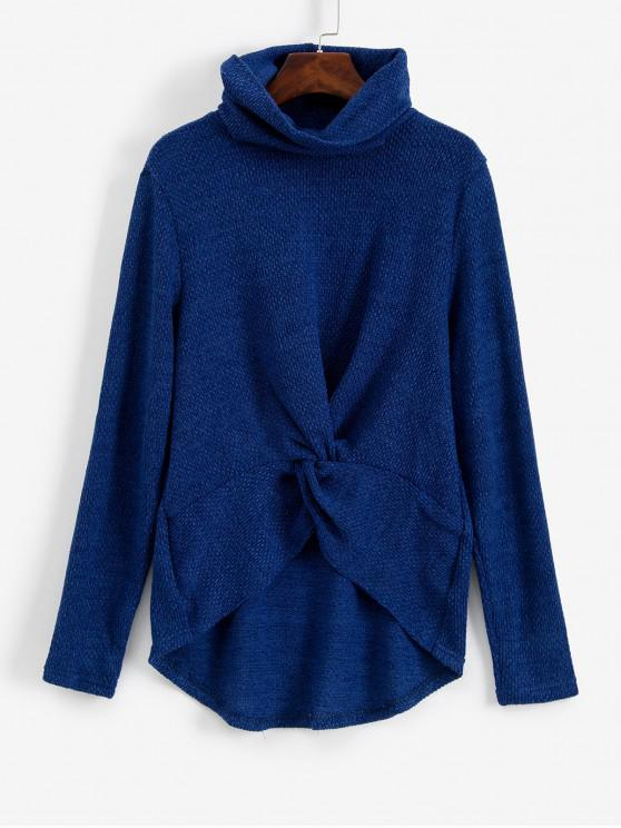 chic Twist Front Cowl Neck High Low Sweater - BLUE M