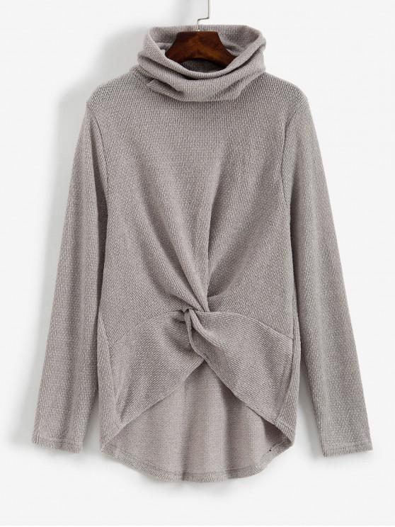 unique Twist Front Cowl Neck High Low Sweater - GRAY XL