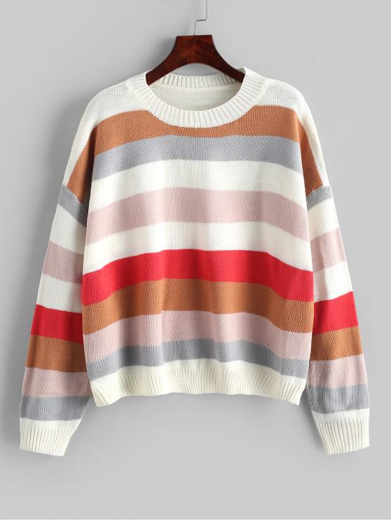 online Color-blocking Rib Trim Pullover Sweater - MULTI ONE SIZE