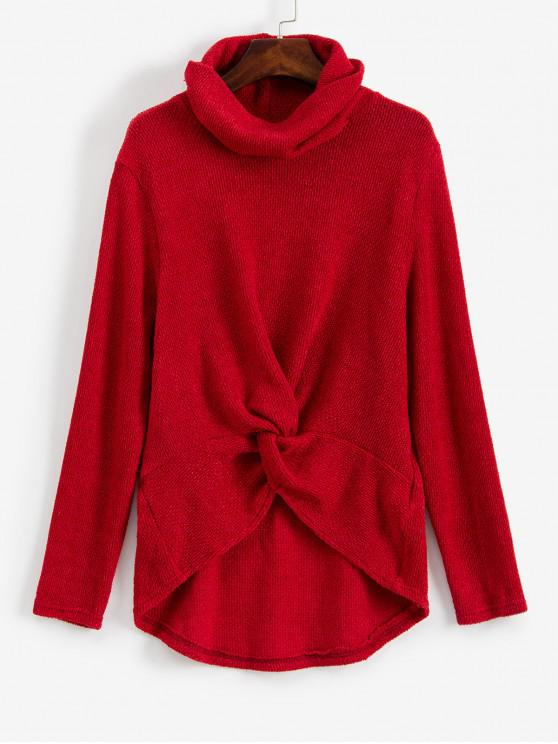 fashion Twist Front Cowl Neck High Low Sweater - RED XL
