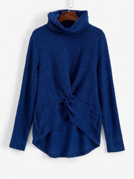 Twist anteriore del collo del cappuccio di alta Maglione Basso - Blu XL