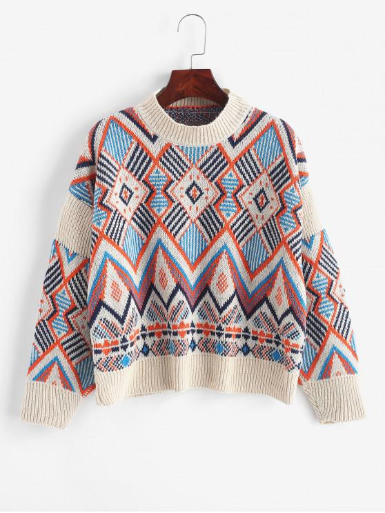 new Geometric Graphic Crew Neck Knitted Sweater - MULTI ONE SIZE