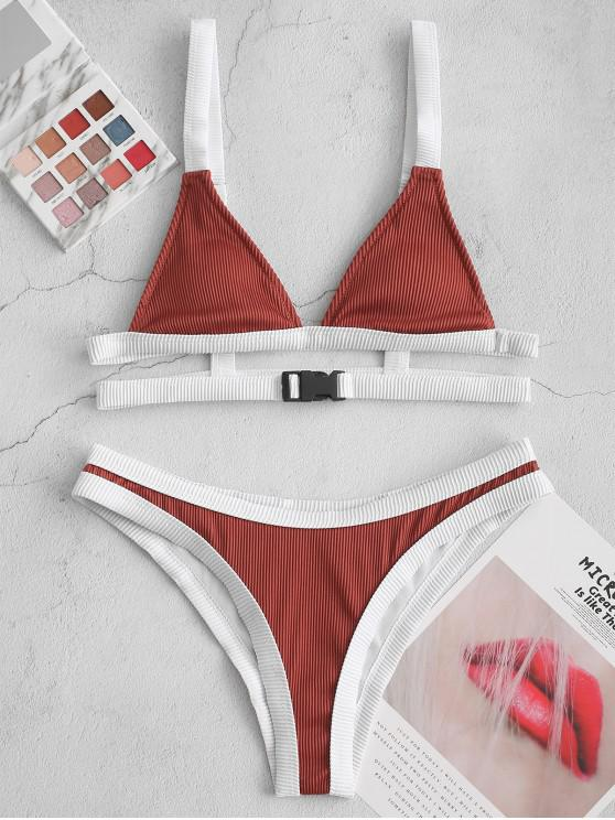 outfits ZAFUL Buckled Contrast Piping Textured Ribbed Bikini Swimsuit - SEPIA XL