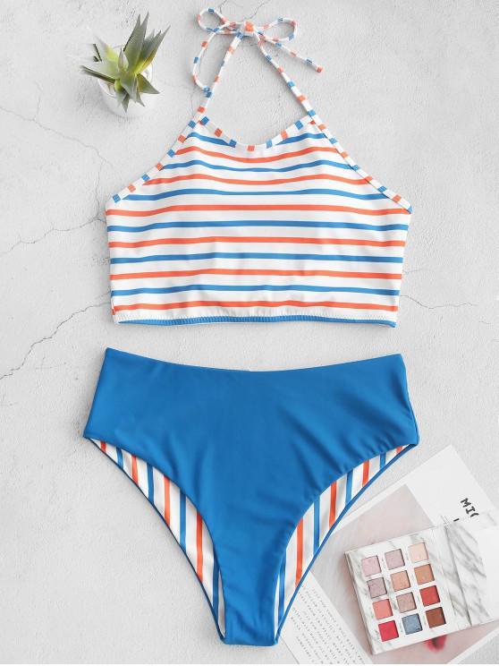 lady ZAFUL Halter Colorful Striped Reversible Tankini Swimsuit - OCEAN BLUE L
