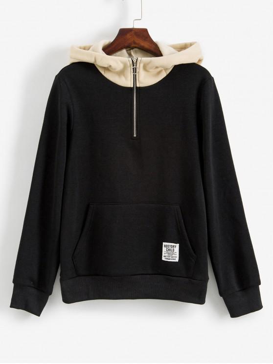 women ZAFUL Contrast D-ring Front Pocket Fleece Hoodie - BLACK XL