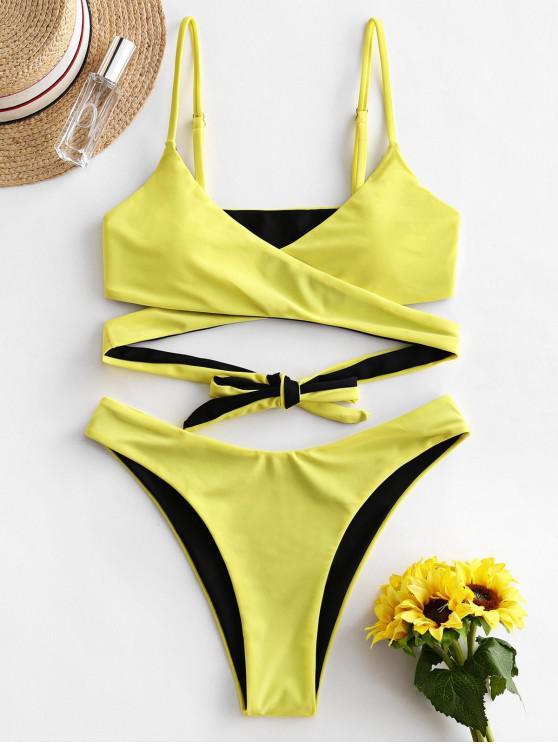 ZAFUL reversible de dos tonos Wrap alta corte de bikini traje de baño - Amarillo M