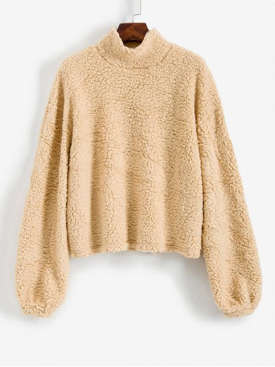 shops ZAFUL Drop Shoulder Fuzzy Teddy Sweatshirt - APRICOT L