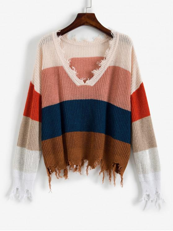 outfit ZAFUL Colorblock Ripped V Neck Sweater - MULTI-A M