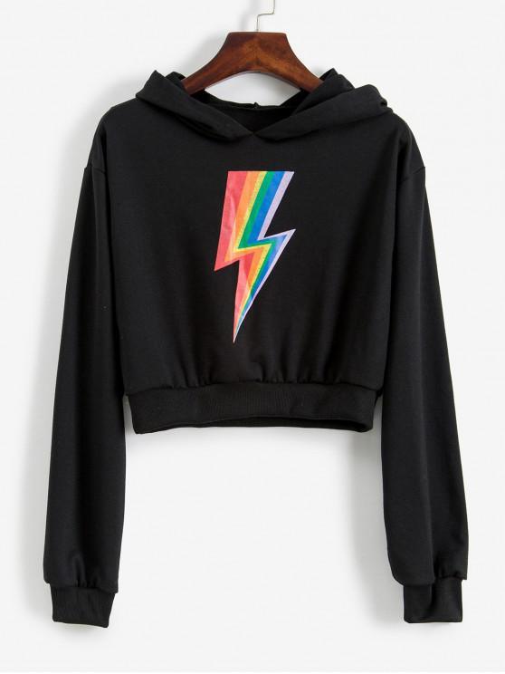 womens Cropped Rainbow Lightning Graphic Hoodie - BLACK L