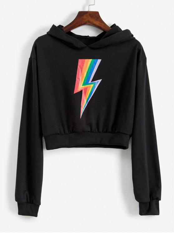 fancy Cropped Rainbow Lightning Graphic Hoodie - BLACK XL