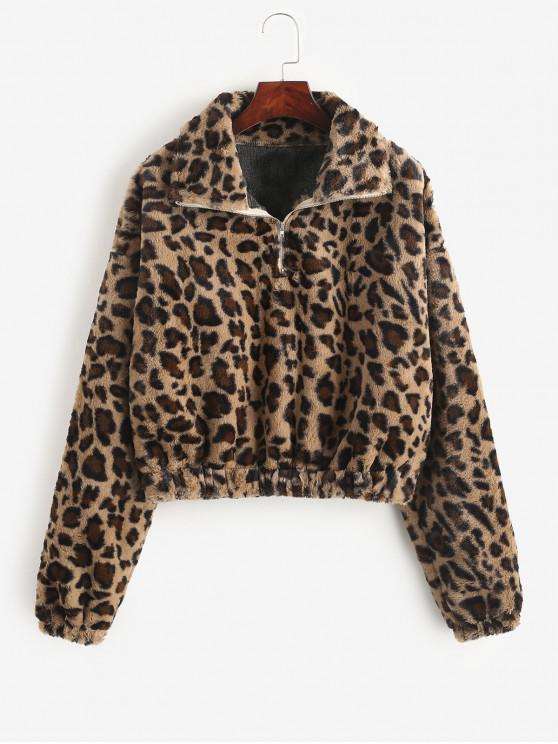 affordable Leopard Print Half Zip Fluffy Sweatshirt - MULTI M