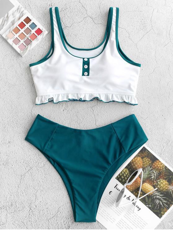 women ZAFUL Frilled Mock Button High Cut Tankini Swimsuit - PEACOCK BLUE L
