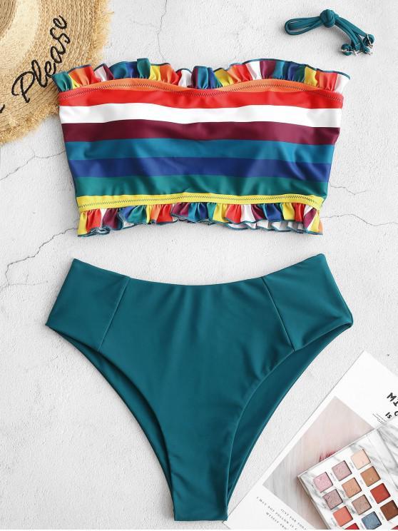 women ZAFUL Frilled Rainbow Striped Bandeau Tankini Swimsuit - PEACOCK BLUE XL