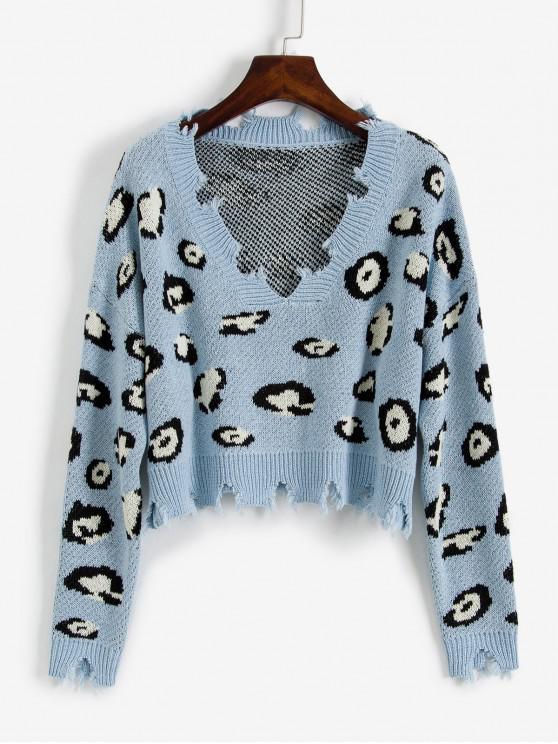 fancy ZAFUL Leopard Ripped V Neck Crop Sweater - BLUE KOI S