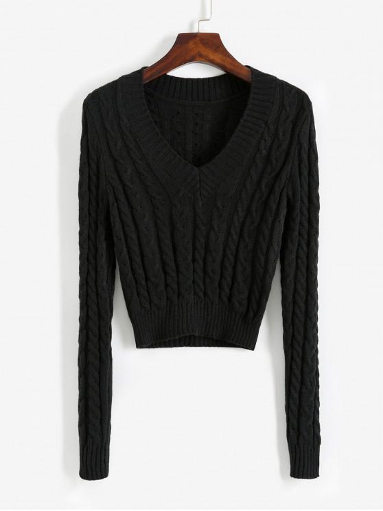women's V Neck Cable Knit Crop Sweater - BLACK S