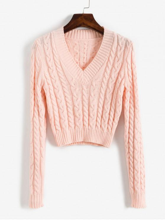 hot V Neck Cable Knit Crop Sweater - LIGHT PINK M