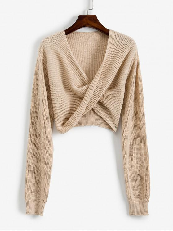unique V Neck Cropped Twist Front Sweater - APRICOT S