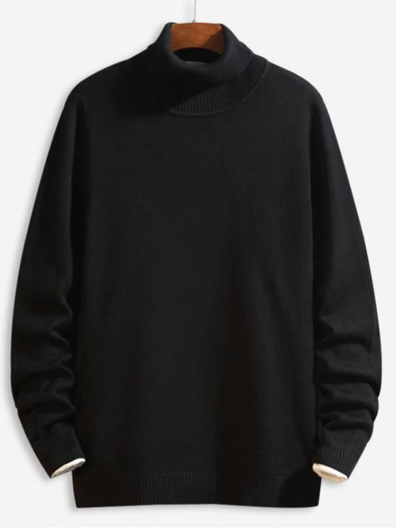 trendy Casual Solid Color Turtleneck Sweater - BLACK XS