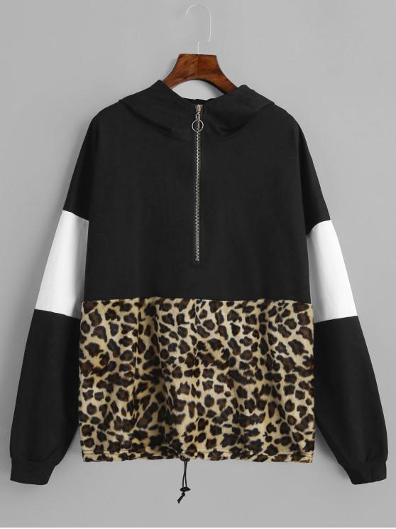 fashion Leopard Contrast Half Zip Drawstring Hoodie - BLACK M