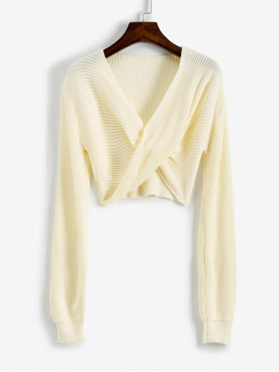 chic V Neck Cropped Twist Front Sweater - WHITE XL