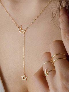 Conjunto De Collar De Cadena De Estrella De Luna Simple  - Oro