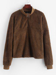 ZAFUL Drop Shoulder Quarter Zip Fluffy Teddy Sweatshirt - Tiger Orange S